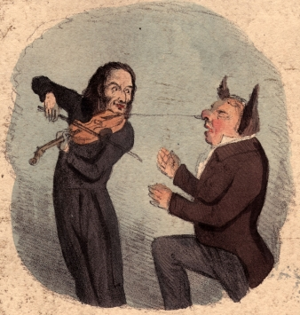 circa 1810: A satirical cartoon called Playing with One String showing Paganini leading John Bull by the nose. (Photo by Hulton Archive/Getty Images)
